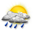 Nubi irregolari con rovesci di pioggia